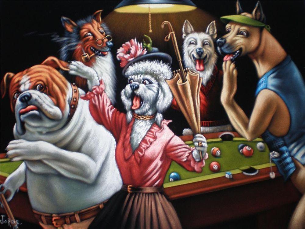 Dogs Playing Pool Black Velvet Oil Painting Original