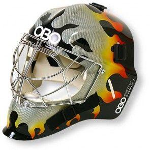 Flaming Hot Hockey Goalkeeper Helemt From Obo Fantastic Fibreglass Protection Hockey Field Hockey Goalie Hockey Stick