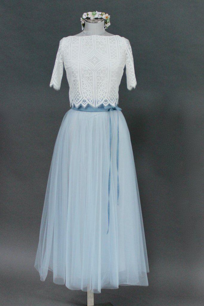 noni | Tüllrock, Brautkleid Blau, wadenlang | Kleid ...