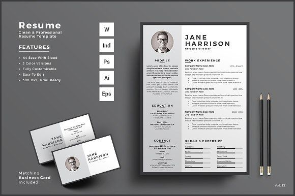Resume\/CV Business Card by ThemeDevisers on @Graphicsauthor - resume business cards