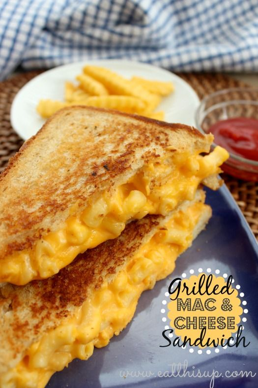 Grilled Mac and Cheese Sandwich ummm I think that they mixed my two favorite things in the entire world!! Yes please:)