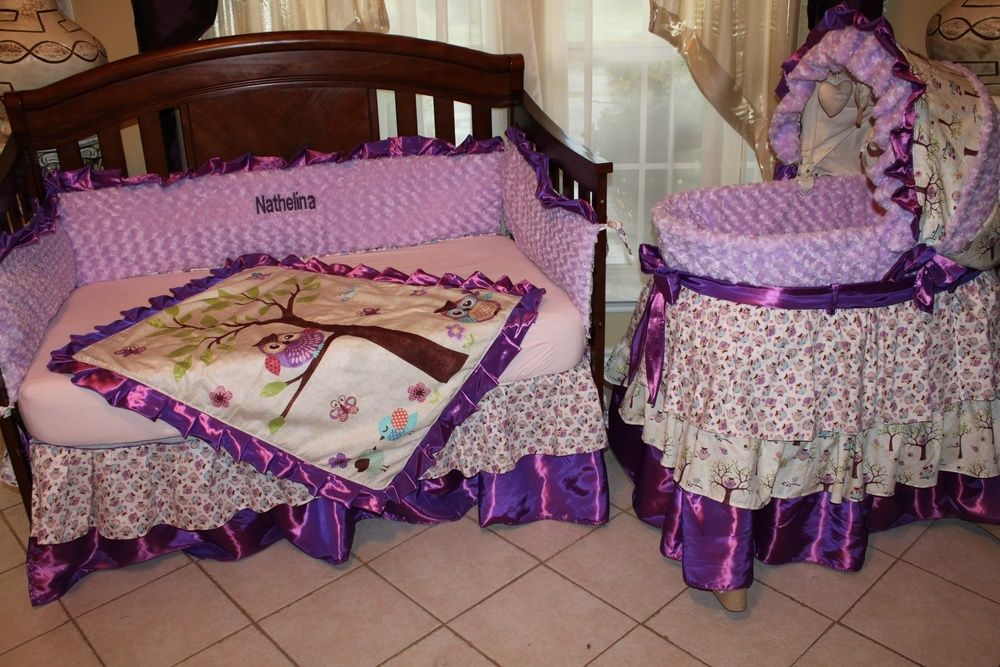 Purple Owl Crib Bedding Set And Binet Cover