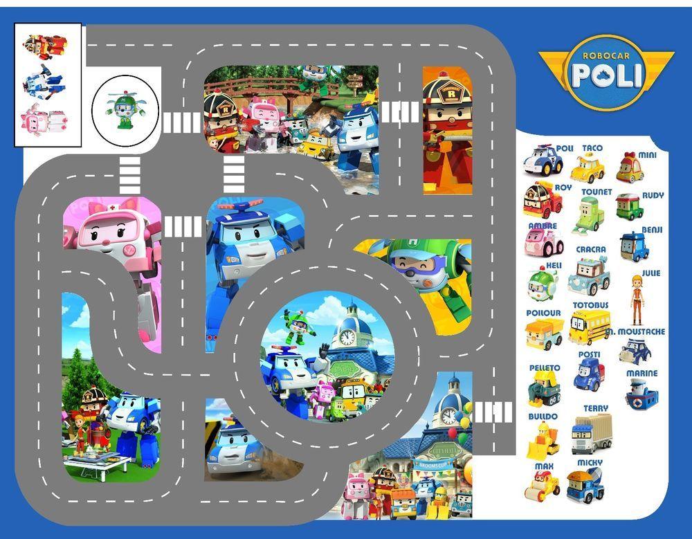 Bache imprim e tapis circuit voiture robocar poli robocar poli party ideas robocar poli - Robocar poli jeux gratuit ...