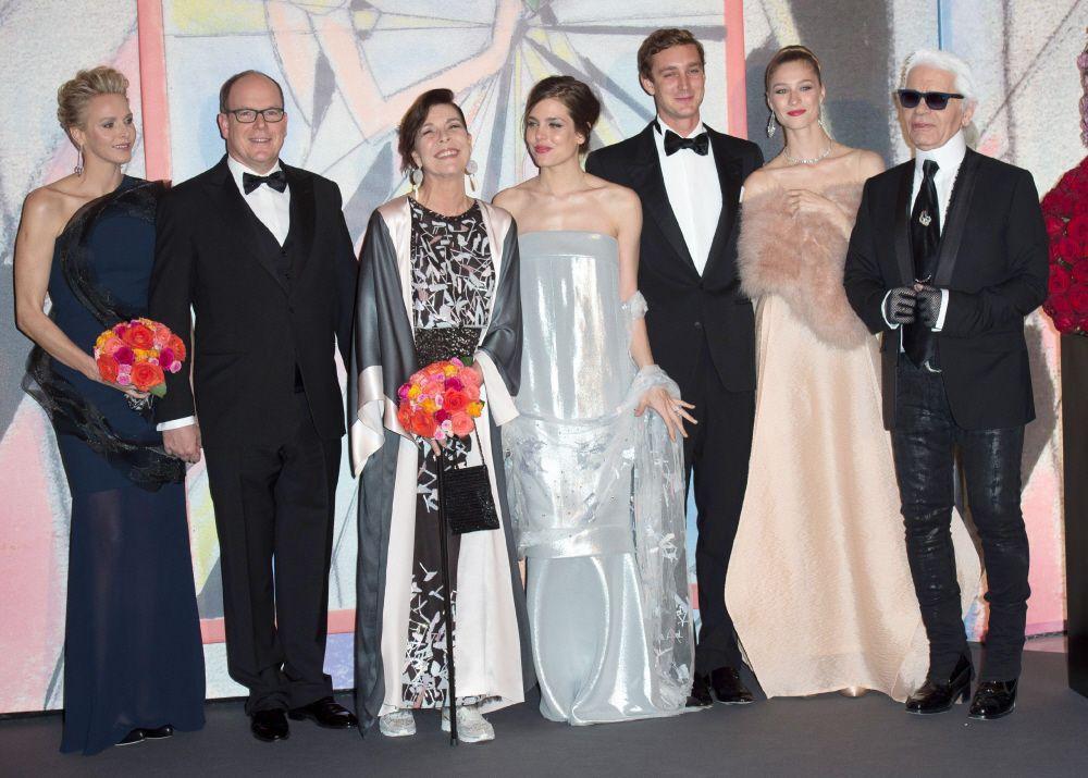 Rose Ball Monaco--the royal family and designer Karl Largefeld.