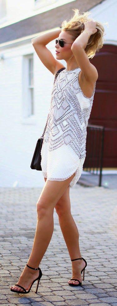 849897b37eb9 Little Embellished Dress + Black High Heels