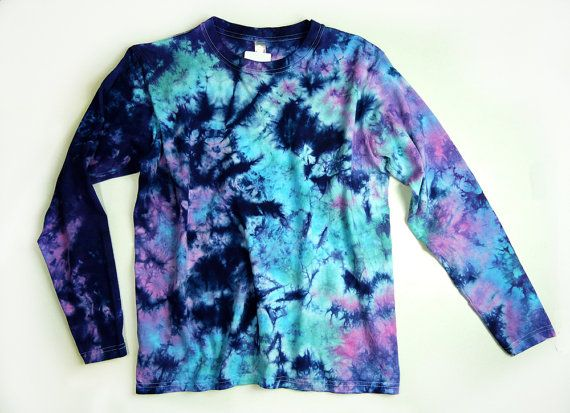 Mermaids Dream Adult Tie-Dye Long-Sleeve Shirt, Purple Blue Teal Adult Tie-Dye Long-Sleeve Shirt