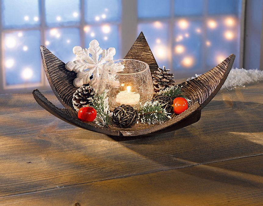 Teelichthalter-Set mit Holzstern, 11-teilig