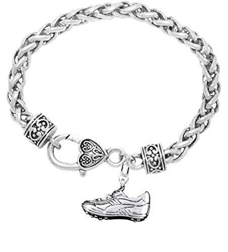 Lead and Cadmium Free Paw Crystal Cheer 3 Charm Bracelet Safe-Hypoallergenic Nickel