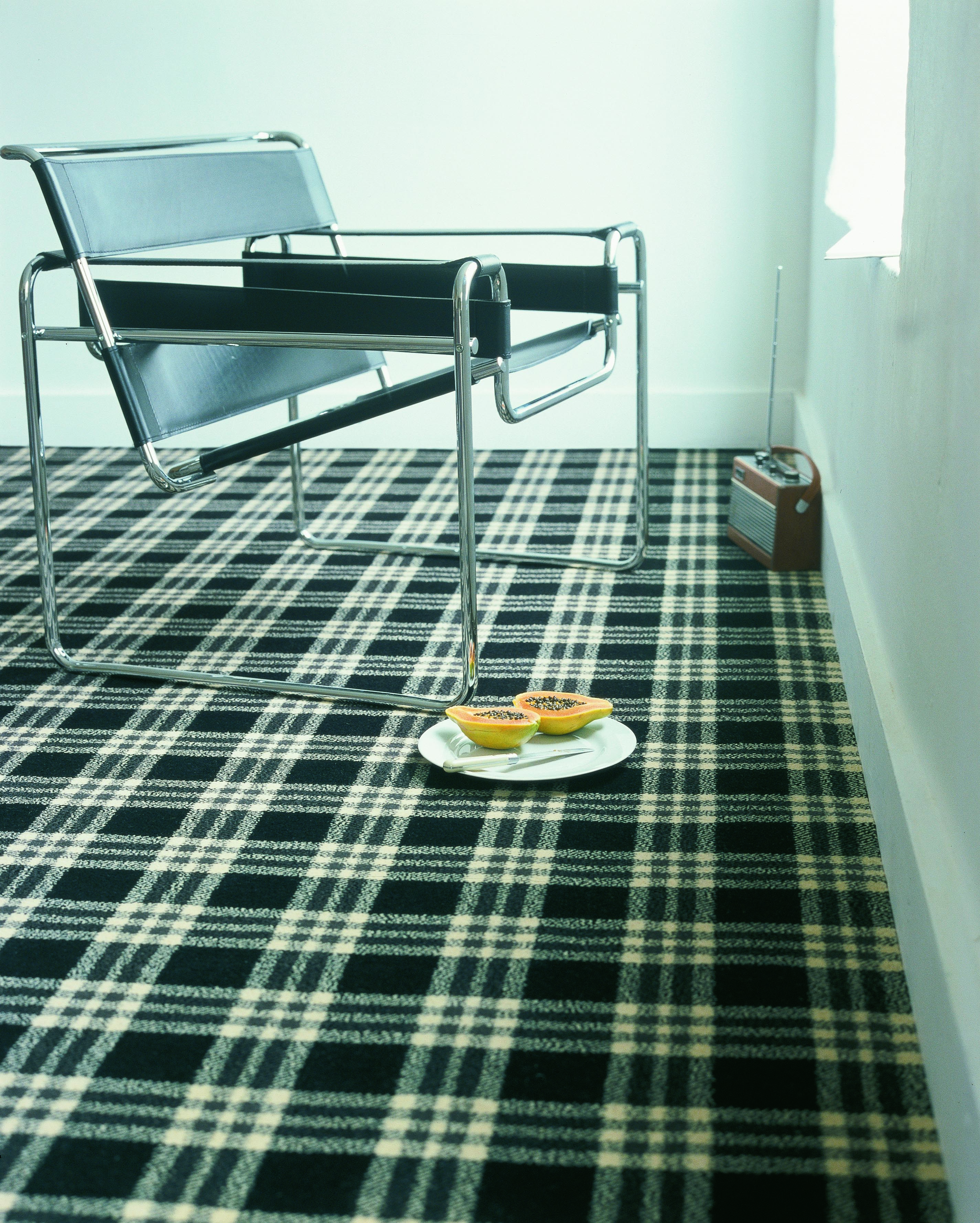 Brintons Abbotsford Border Plaid, 917089, Black, White, Tartan Carpet