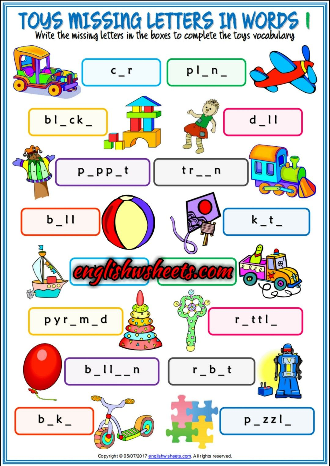Toys Esl Printable Missing Letters In Words Worksheets For Kids Toys Esl Printables M