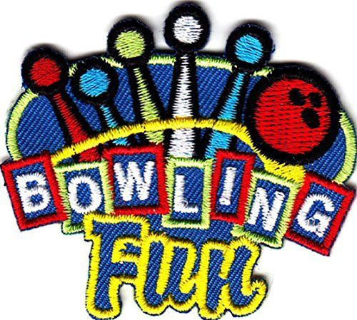 "[Single Count] Custom and Unique (2 1/4"" x 1 7/8"") Bowling Fun Iron On Embroidered Applique Patch {Blue, yellow and Red Colors} myLife Brand Products http://www.amazon.com/dp/B010C5HHJ4/ref=cm_sw_r_pi_dp_I2xPvb0BFMQJQ"