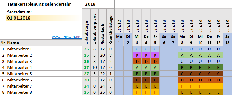 Personalplaner Urlaubsplaner Excel Vorlage Planer Vorlagen