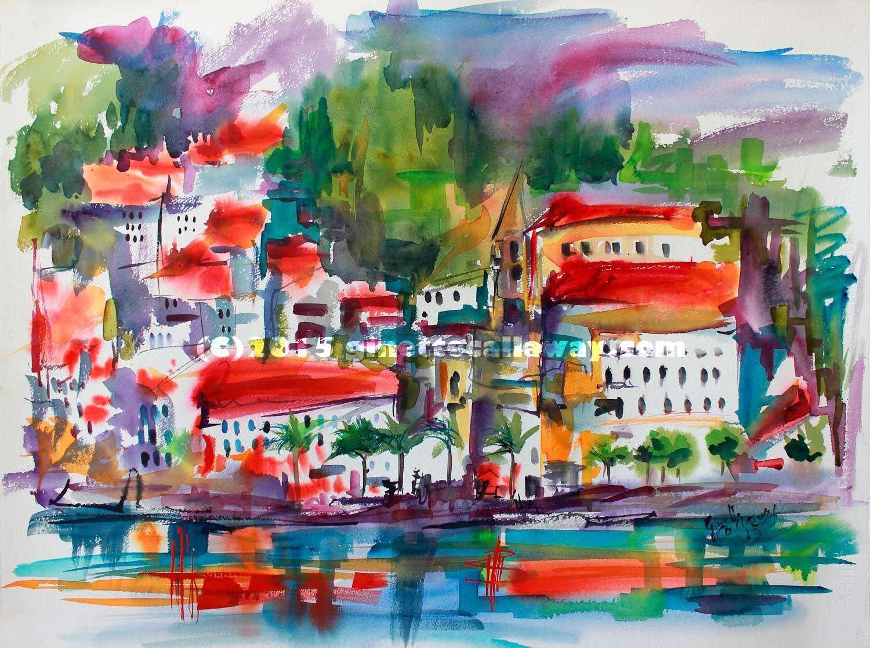 Amalfi Coast Expressive Watercolor Original , Watercolor and Ink - Ginette Fine Art, The Art of Ginette Callaway  - 4