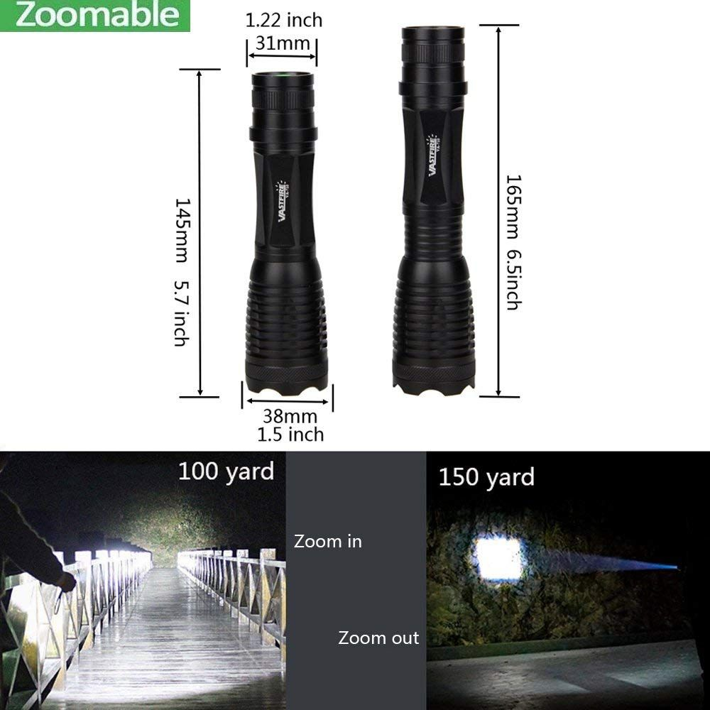 Zoomable Weapon Tactical Light 1000Lumen Flashlight Torch LED Picatinny Offset