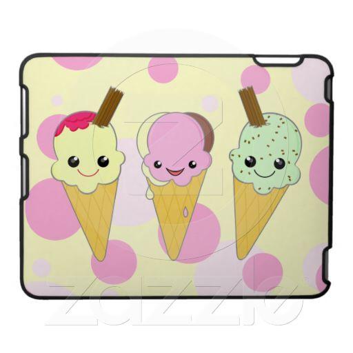 Cute Kawaii Ice Cream Cones Cartoon iPad Cases   cute food ...