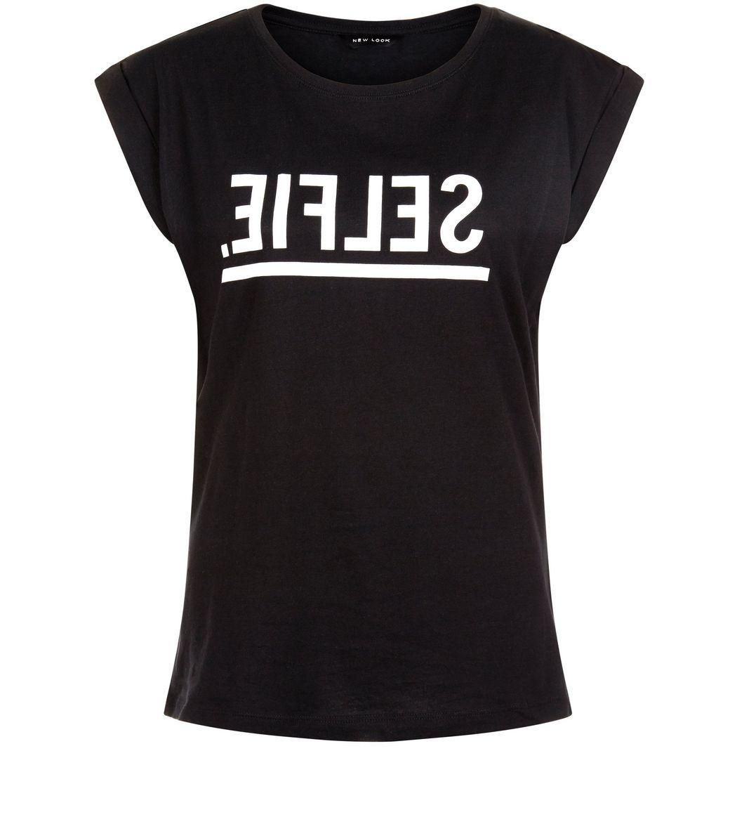 Black Selfie Mirror Slogan T-Shirt    New Look
