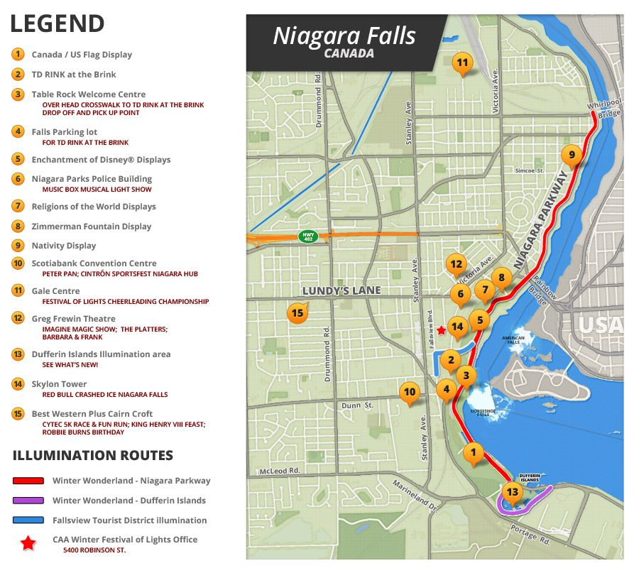 Winter Festival Of Lights Niagara Falls And Area Map And