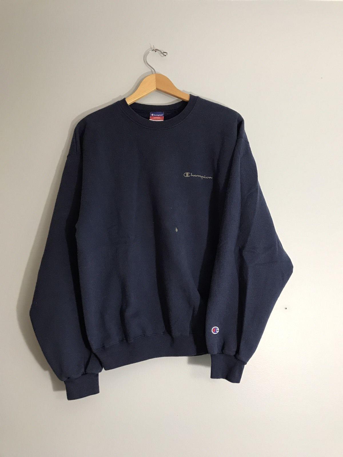 fd67a7d484eb Vintage Champion Script Logo Crewneck Sweatshirt Size L Navy Blue ...