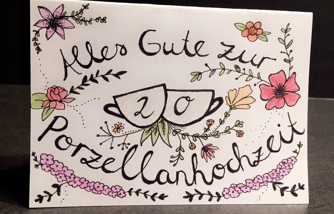 Handlettering Karte Porzellanhochzeit Porzellanhochzeit Karte Hochzeit Geburtstagskalender