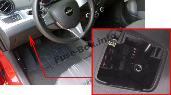 Chevrolet Spark (EU) (M300; 2010-2015) < Fuse Box location | Chevrolet  spark, Fuse box, Chevrolet | Chevrolet Matiz Fuse Box Location |  | Pinterest
