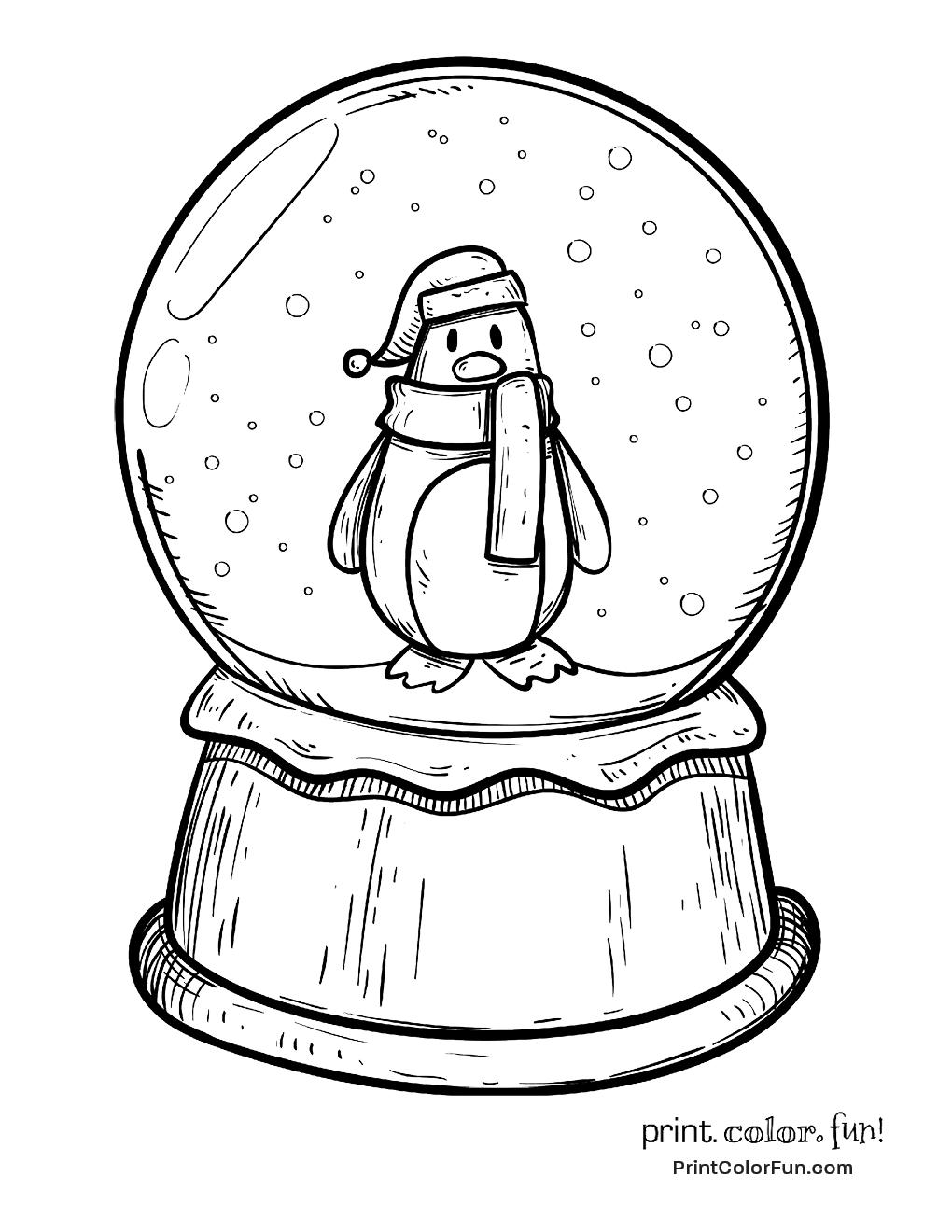 Christmas Snow Globe With Penguin Penguin Coloring Pages Globe Drawing Penguin Coloring