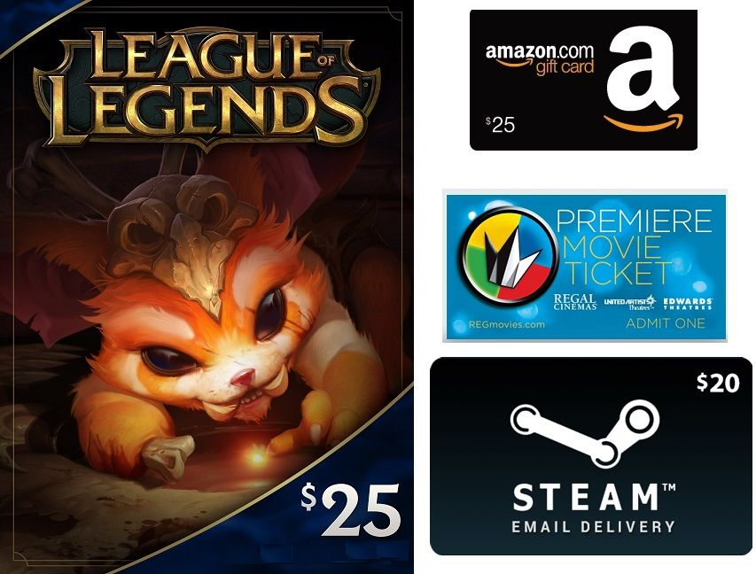 4 25 Dollar Or League Of Legends Rp Cards