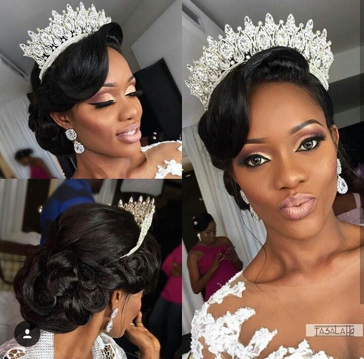 Black Wedding Hairstyles With Crown: Bridal Hair & Makeup Inspiration With Tiara