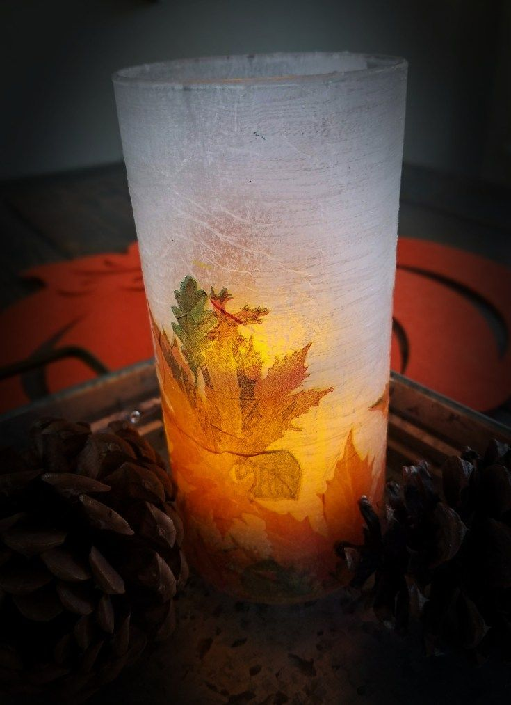 Decoupage Glass with Napkins for Easy Decor!! DIY decoupaged glass vase from Dollar Tree with napkins and mod podge.  Inexpensive and cheap fall craft!