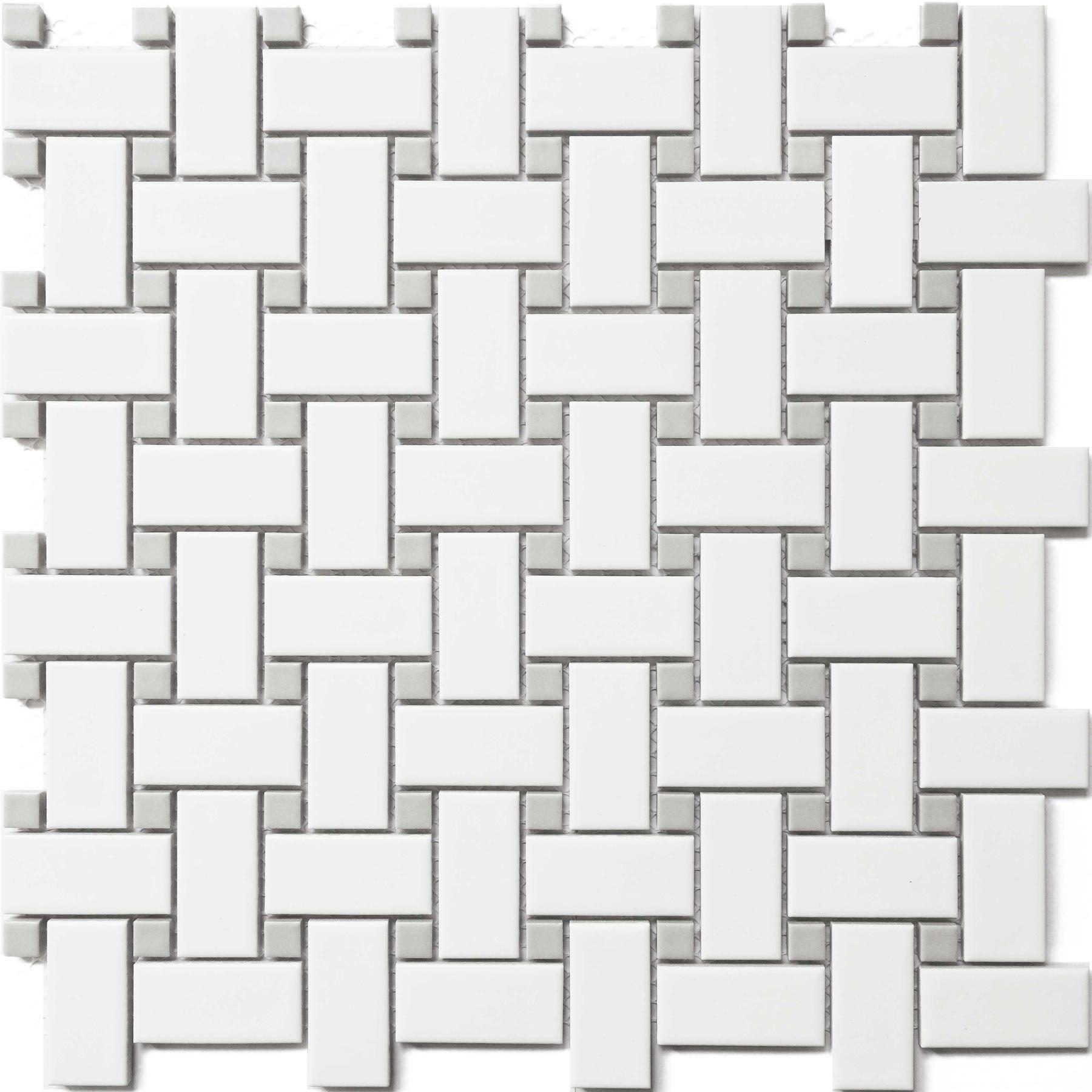 White Amp Gray Basket Weave Cc Mosaics Collection Ceramic