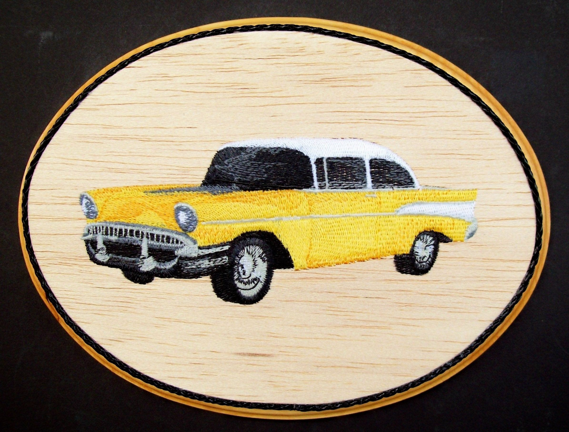 1957 Chevy Classic Car Embroidery Wood Art, Man Cave Wall Decor ...