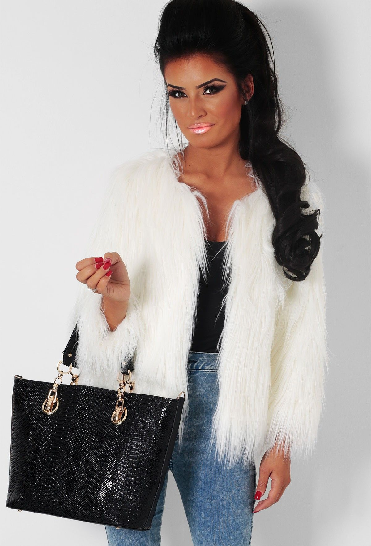Glacial White Faux Fur Clasp Jacket | Pink Boutique | Coats x ...