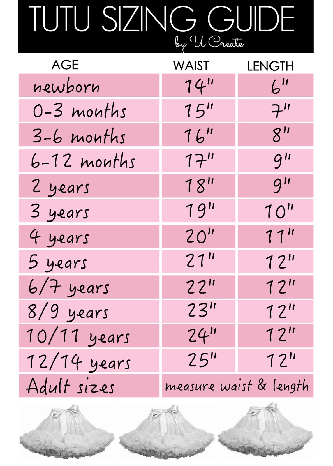 Tutu Or Skirt Sizing Guide Chart U Create Costura