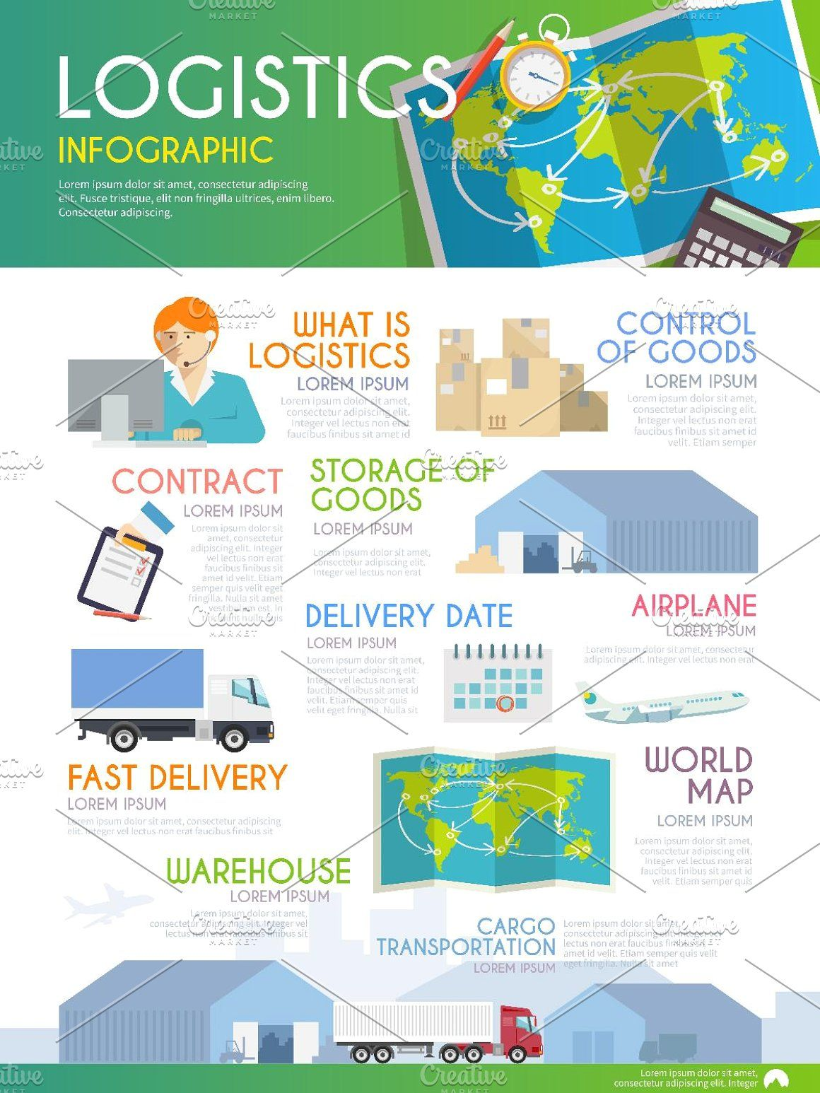 Logistics Infographic delivery travel warehouse business