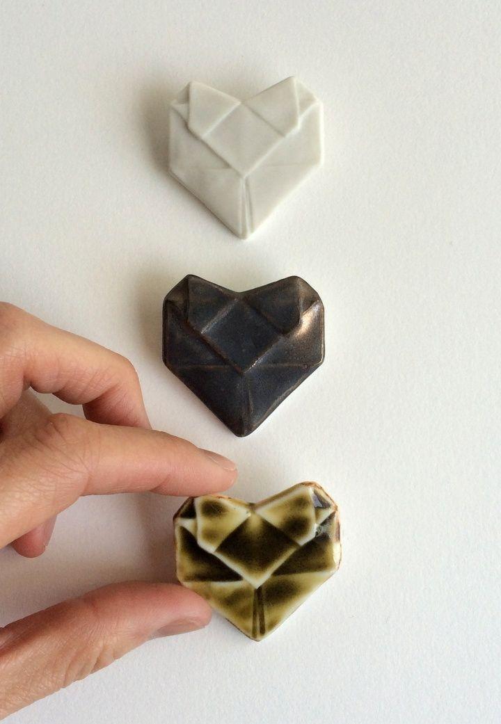 """Porcelain Origami Hearts"" Catch more work by Alyson Iwamoto by subscribing on Ziibra at http://www.ziibra.com/alyson-iwamoto/"