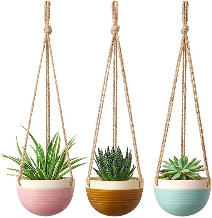 Hanging Planter Handpainted Llama~Plant Hanger~Succulent Planter~Ceramic Planter~Indoor Planter~Wall Planter~Hanging Ceramic Planter