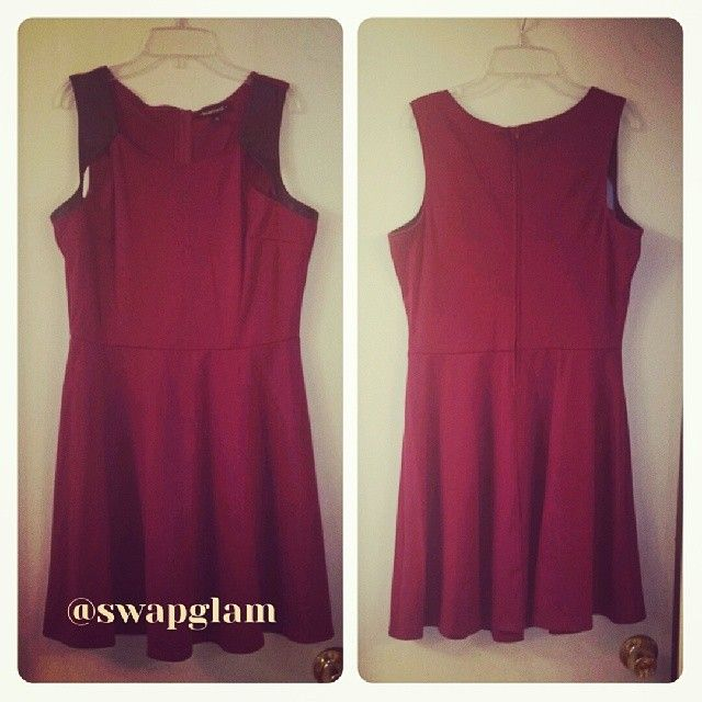 Wine Skater Dress with Faux Black Leather Trim Cut-Outs, Scoop Neckline, Size X-Large, Worn Once, Super Cute, Zipper Back, Charlotte Russe Brand, Retail $30/Swap Value $15, Direct Message @Lisa Michelle If interested in swapping or buying!!!! #swapglam #datenight #flirty #Skater #leather #cutout #charlotterusse #wine #chic #ponte #flattering #fun #swap #deal