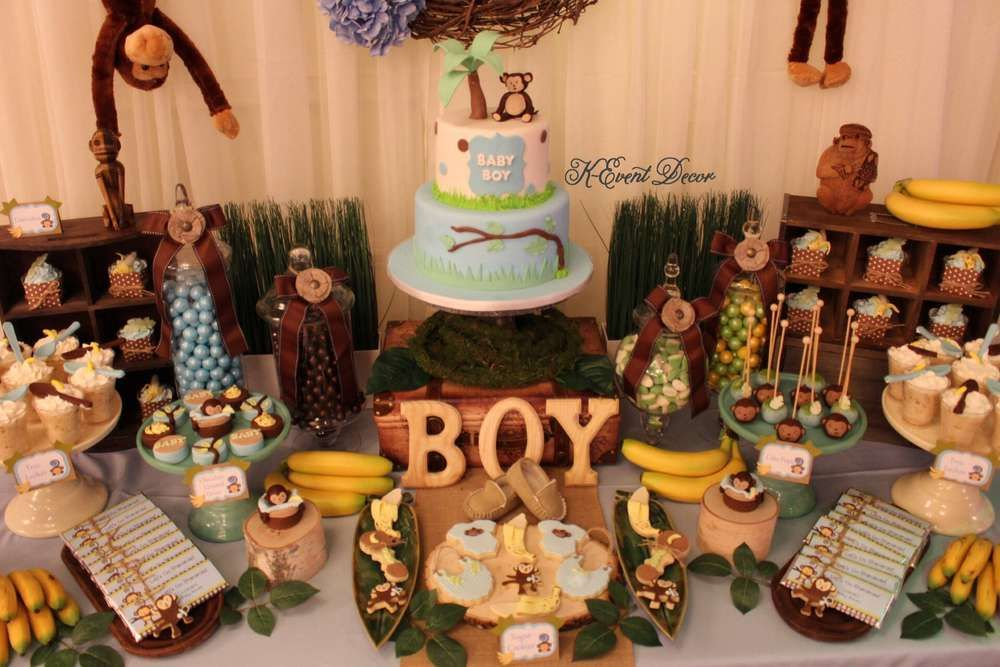 Monkey Jungle Theme Baby Shower Party Ideas Photo 2 Of 12 Jungle Baby Shower Theme Monkey Baby Shower Boy Baby Shower Monkey Theme