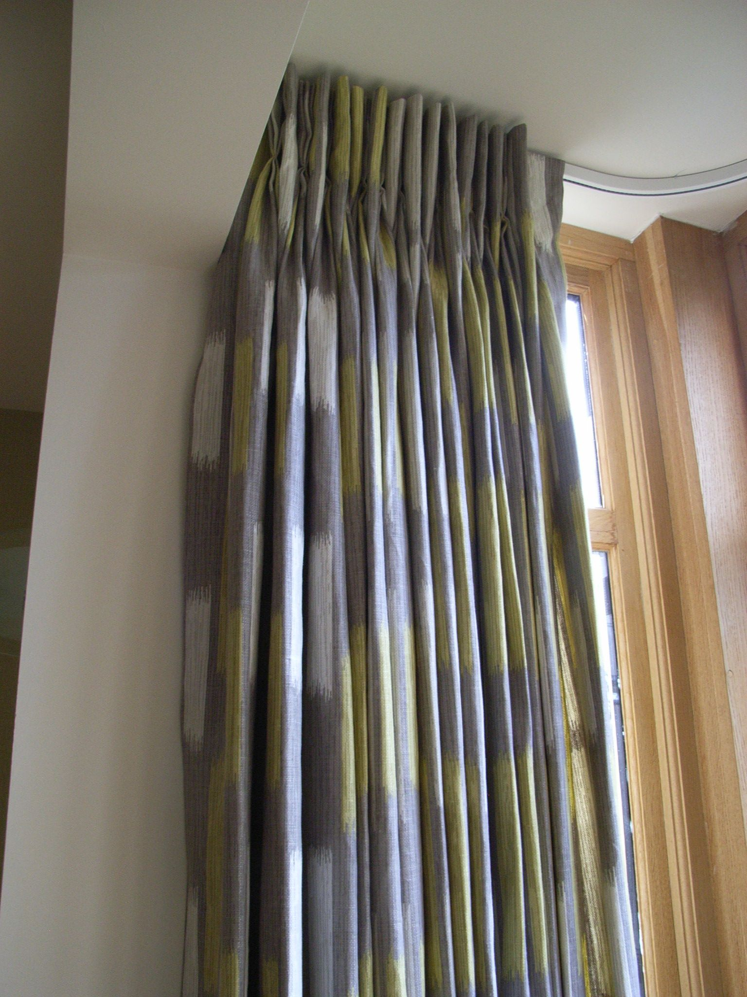 Pinch pleat curtains, using Villa Nova fabric on a Silent Gliss ... for Pencil Pleat Curtains On Track  45gtk