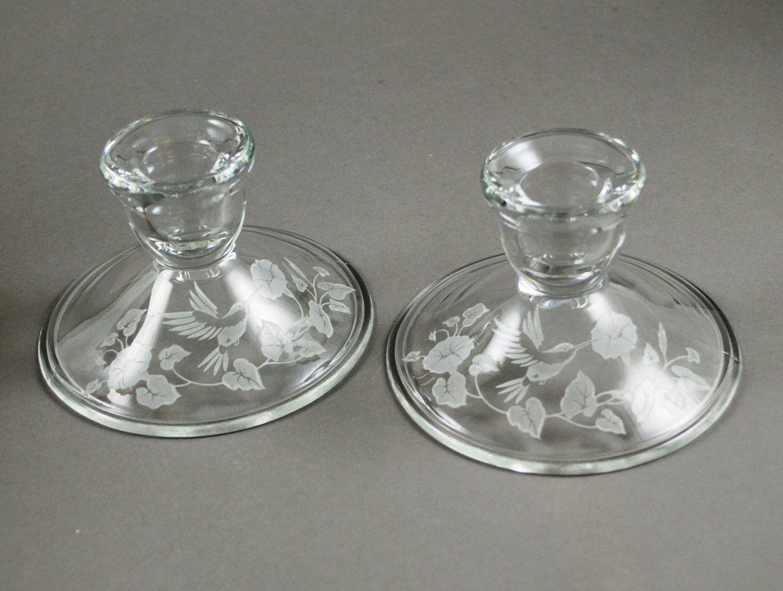 Set of 2 Avon crystal Hummingbird candleholders. The