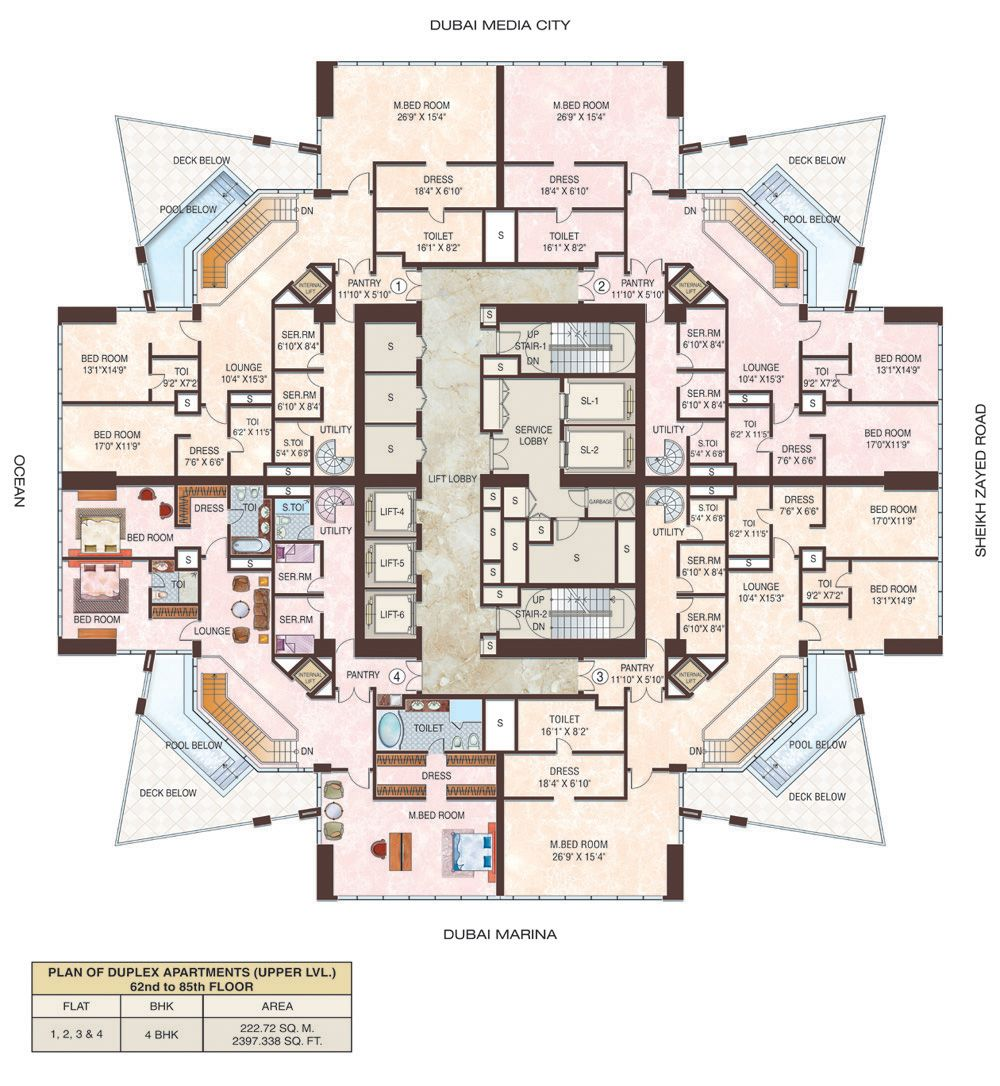 Dubai Marina Duplex Floor Floors Layout Pinterest