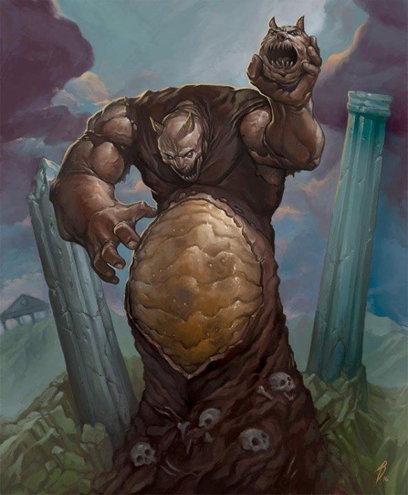 This Painting Of The Head Chuckin Boss From Altered Beast Screams