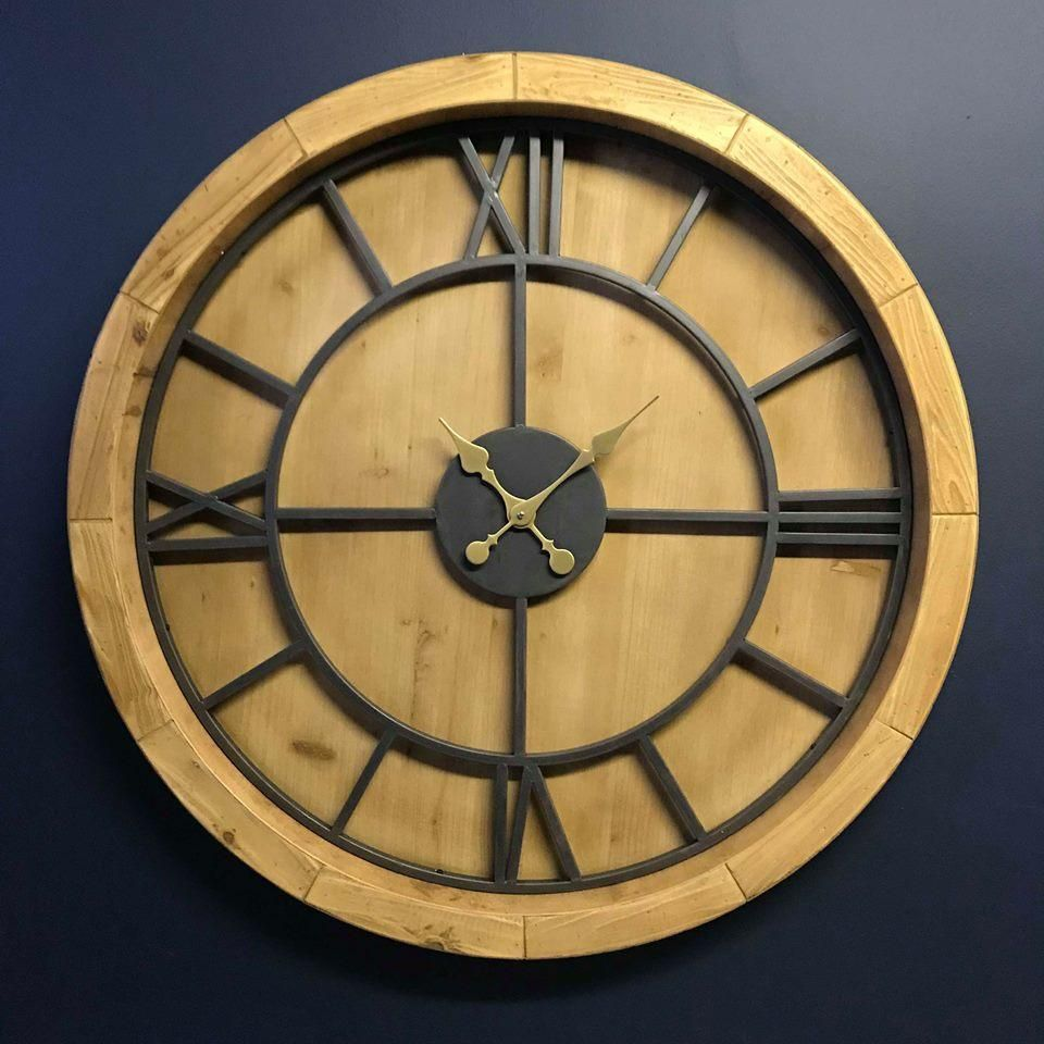 Emmerdale Round Clock 100cm Clock Metal Clock Wood And Metal