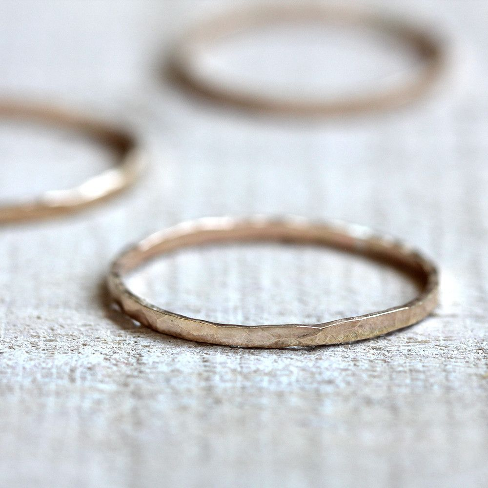 14k solid yellow gold hammered stacking ring from Praxis Jewelry $84