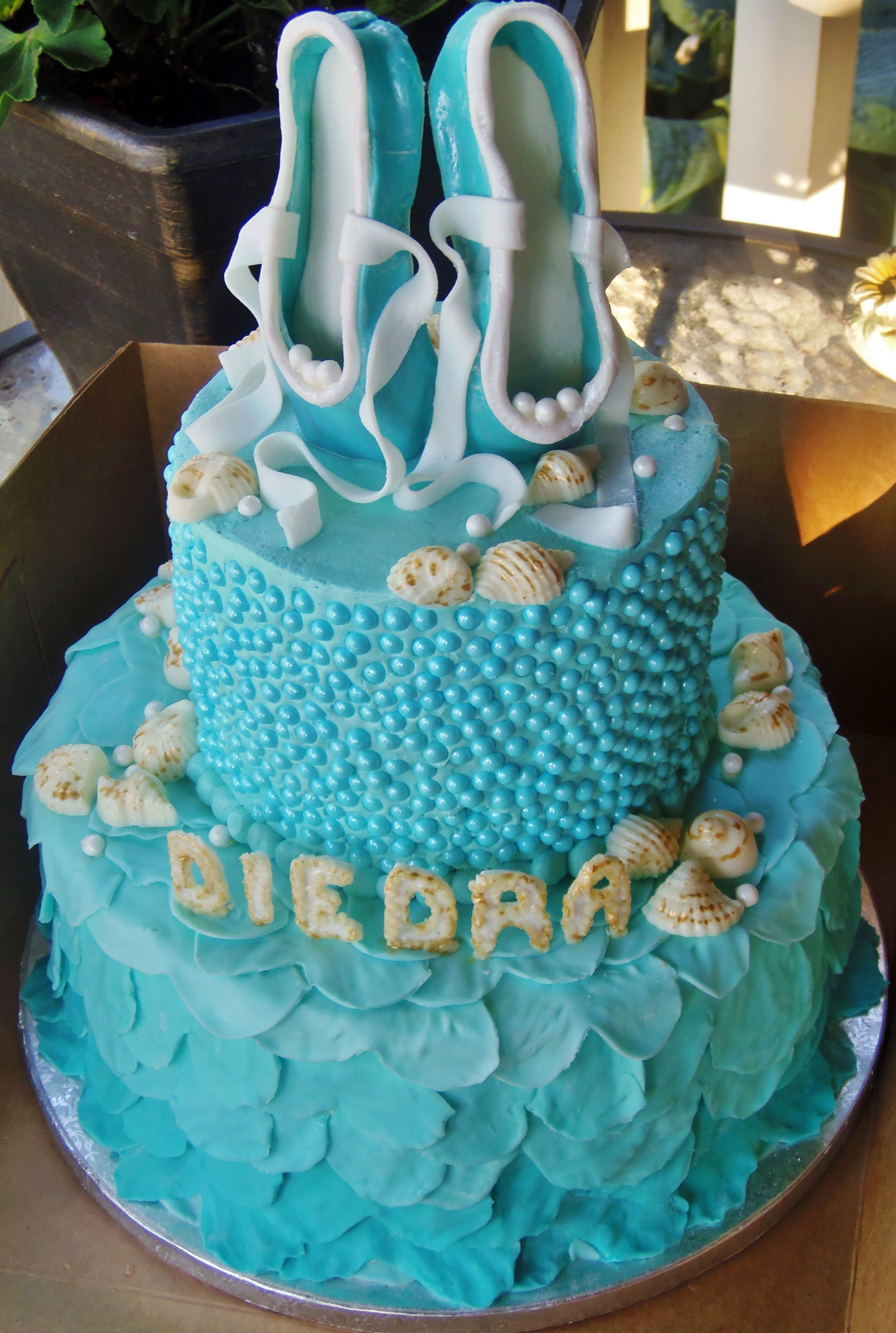 Ballet And Sea Shells On A 2 Tiered Birthday Cake For A 15 Year Old