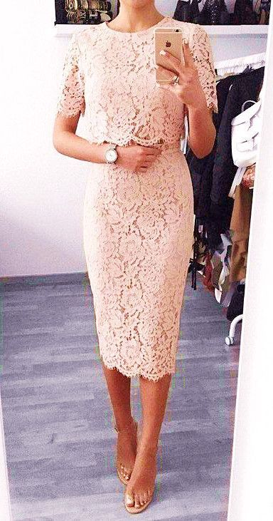Macloth Short Sleeves Lace Peach Cocktail Dress Knee Length Wedding Party Dress In 2020 Cocktail Dresses With Sleeves Cocktail Dress Wedding Cocktail Dress Lace