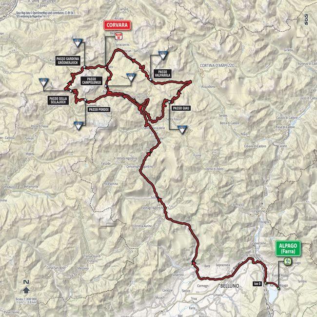 Samedi 21 mai 14e tape Alpago Corvara Alta Badia 210 km