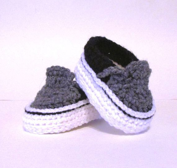 8a474d156 Baby Sneakers, Baby Shoes Crochet, baby boy shoes, vans style booties, vans baby  booties, baby showe