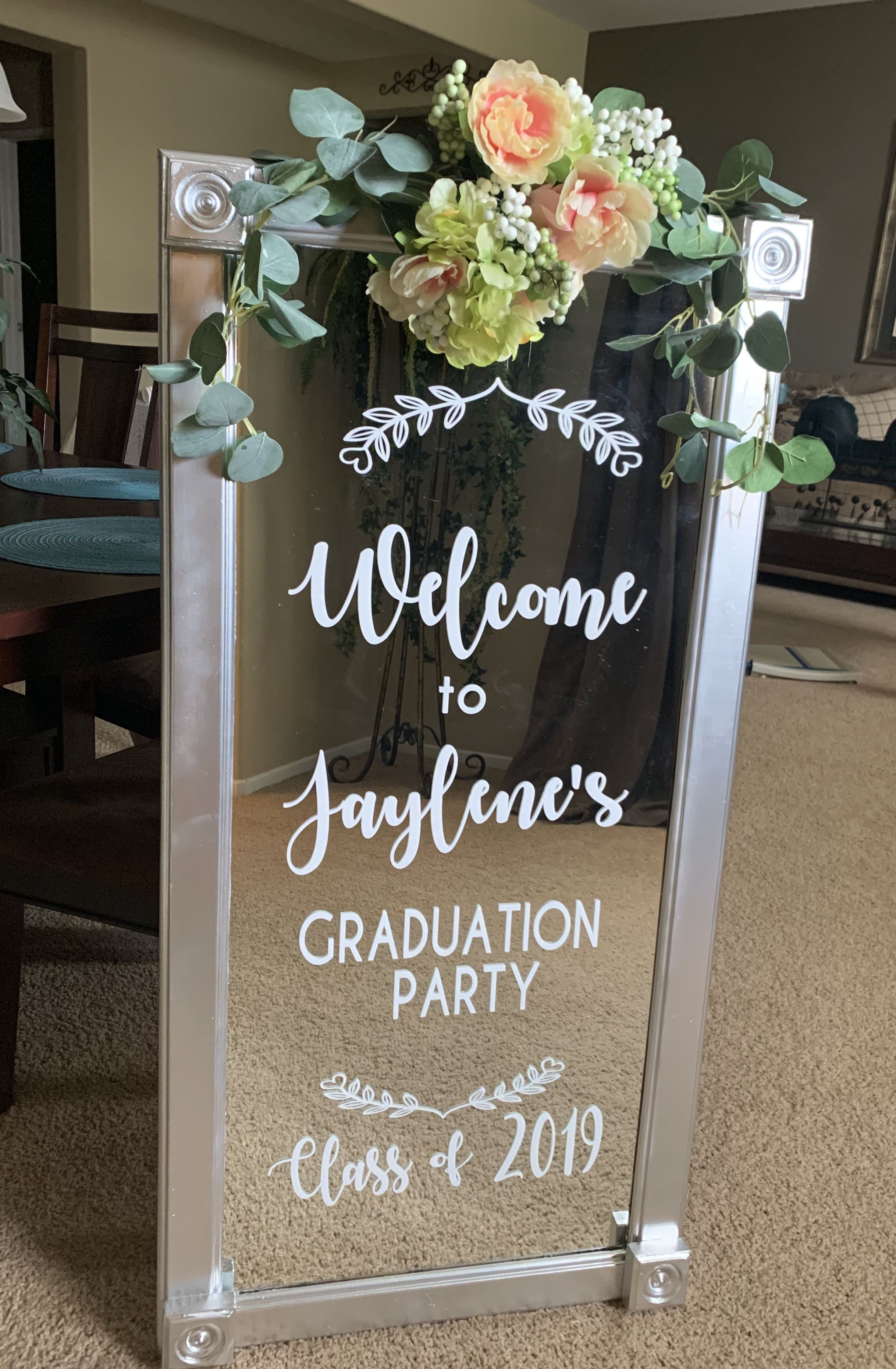 Mirror Graduation Welcome Sign Graduation Party Signs Graduation Party Themes Graduation Chalkboard