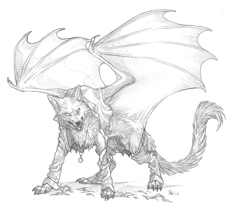 Wolf Drawing With Wings Wolf With Wings Drawing Wolf