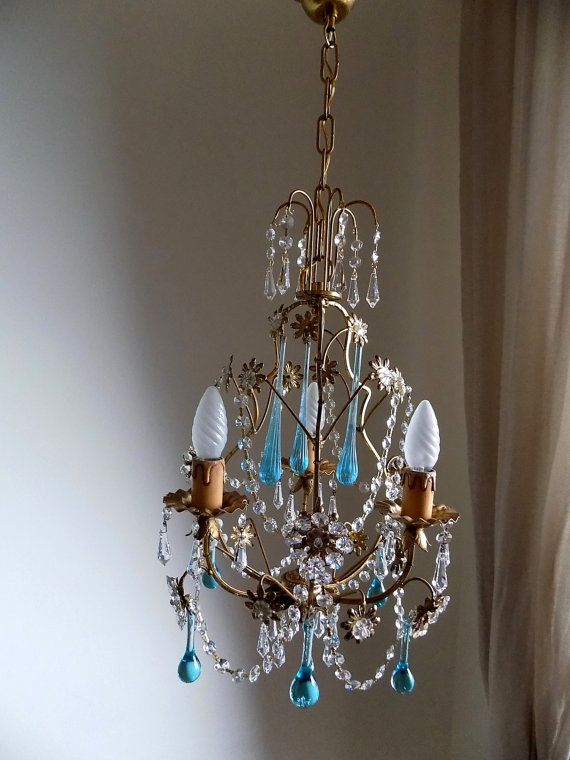 Gorgeous petit gold tole vintage crystal chandelier 40s italian on sale gorgeous petit gold tole vintage by milanchicchandeliers mozeypictures Gallery